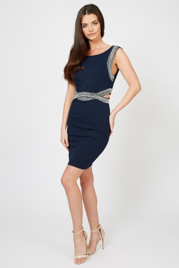 TFNC Malaga Navy Embellished Cut Out Dress