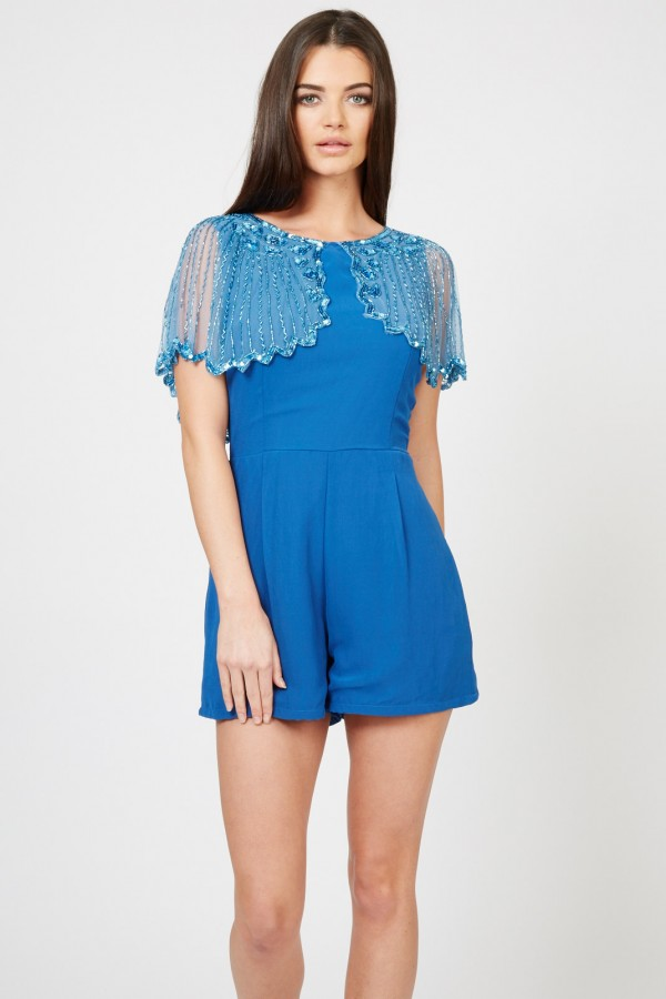 Lace & Beads Jodie Teal Playsuit