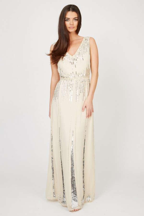 Lace & Beads Virginia Nude Maxi Dress
