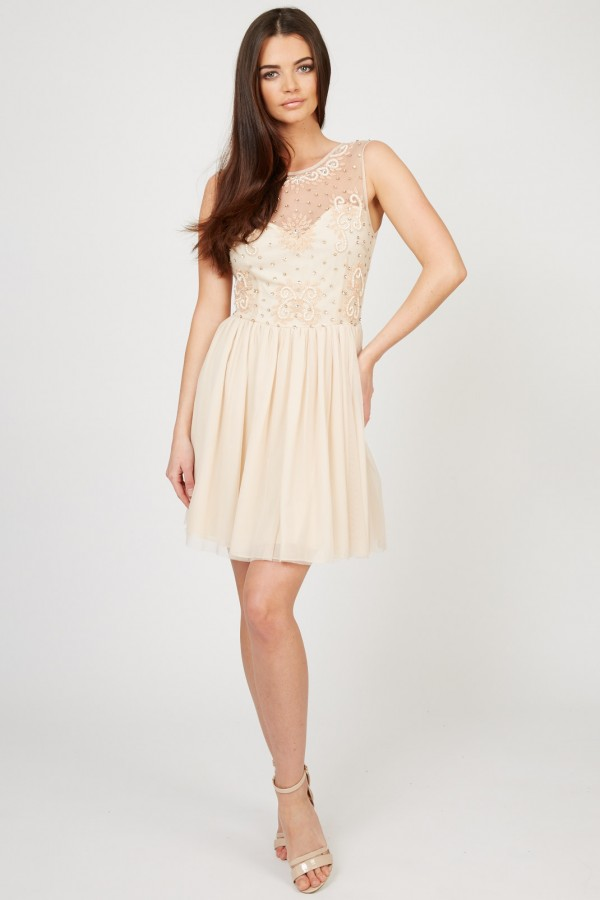 Lace & Beads Blare Nude Embellished Dress