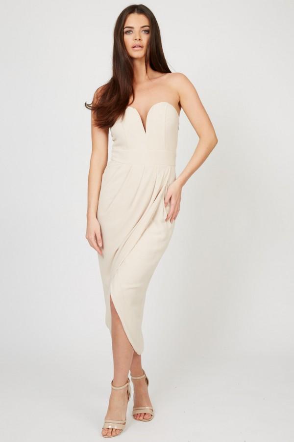 TFNC Vivienne Nude Bandeau Midi Dress