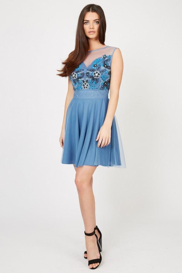 Lace & Beads Sisa Blue Embellished Dress
