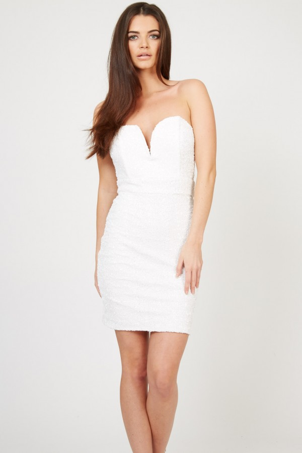 TFNC Halo Mini White Sequin Dress