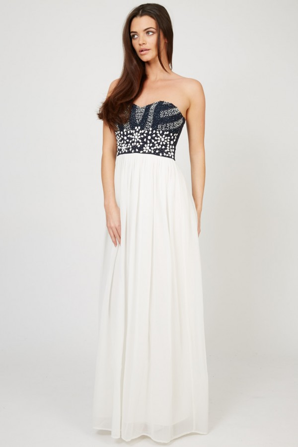 Lace & Beads Karina White Maxi Dress