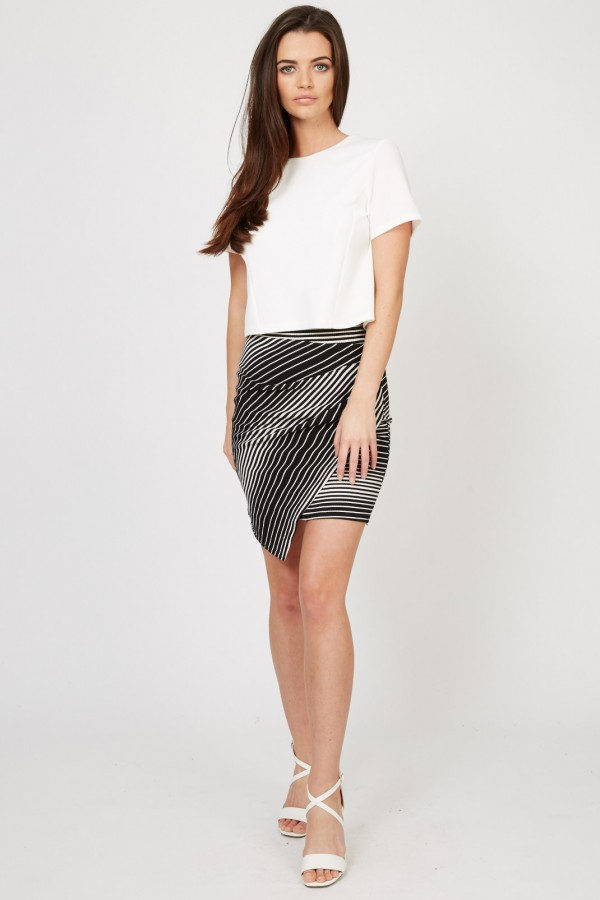 TFNC Jany Stripe Mini Skirt