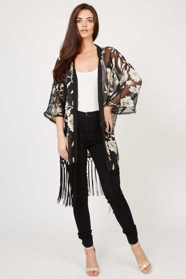 TFNC Floral Black Fringe Kimono