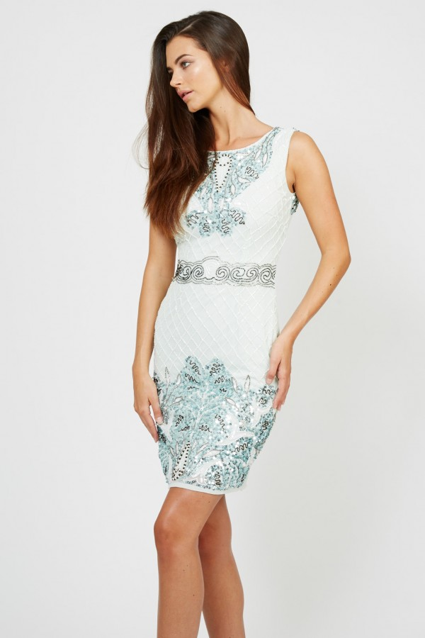 Lace & Beads Mary Mint Embellished Dress