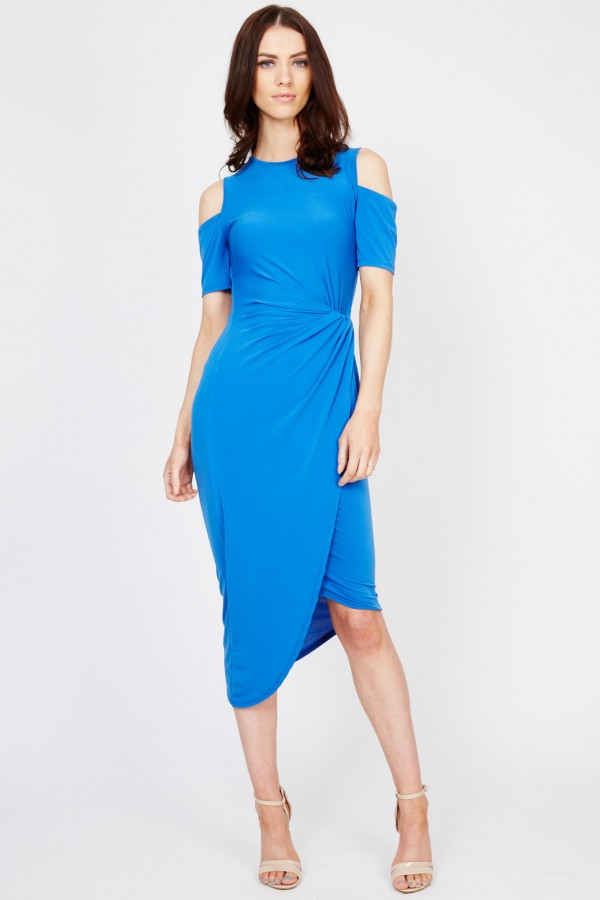 WalG Cut Out Knot Tie Blue Dress
