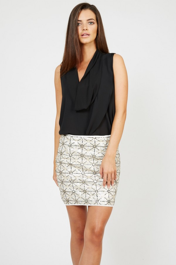 TFNC Paris Geometric Sequin Skirt