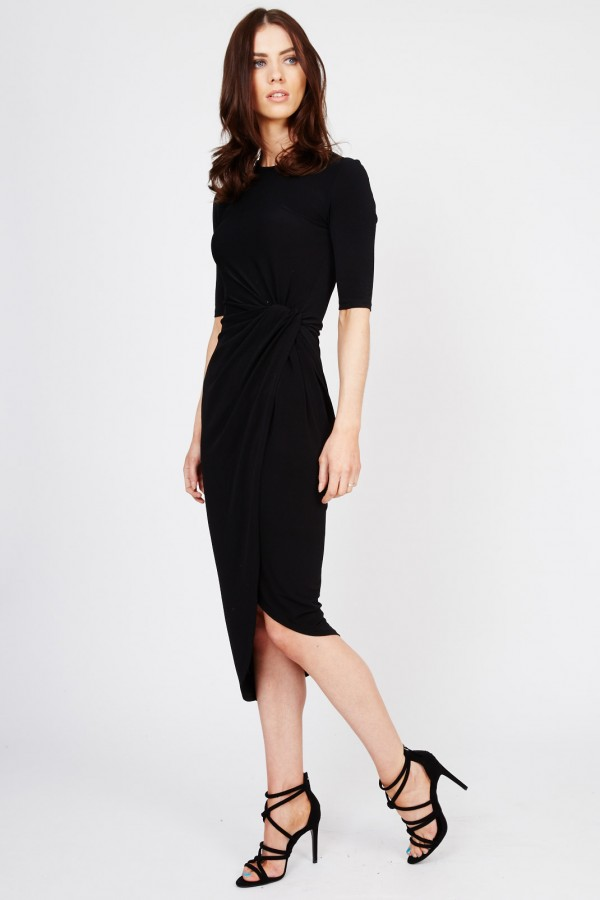 WalG Knot Tie Black Dress