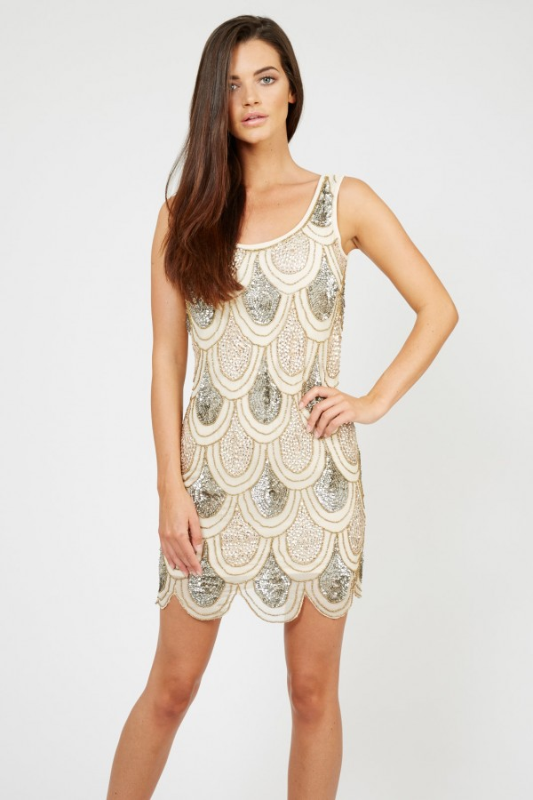 Lace & Beads Angela Gold Sequin Dress