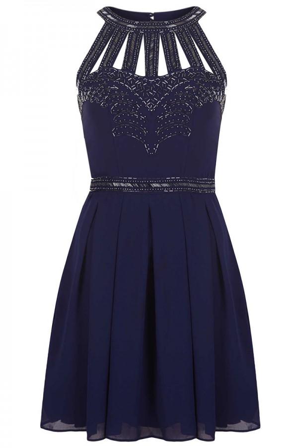 TFNC Cage Halter Embellished Dress