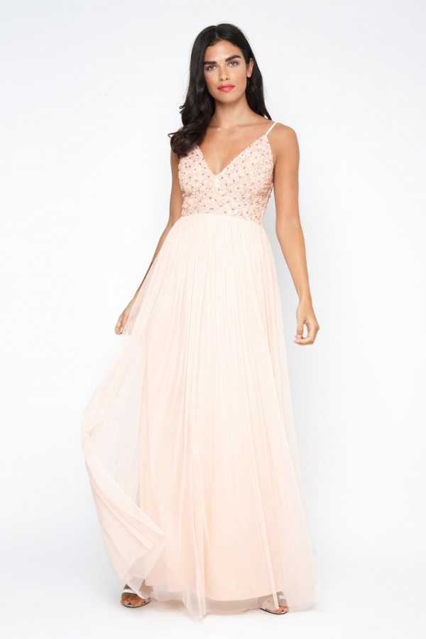 Lace & Beads Irina Embellished Nude Maxi Dress
