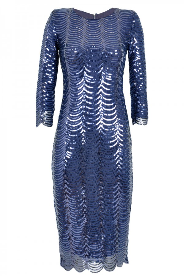 TFNC Paris Scalloped Sequin Dress