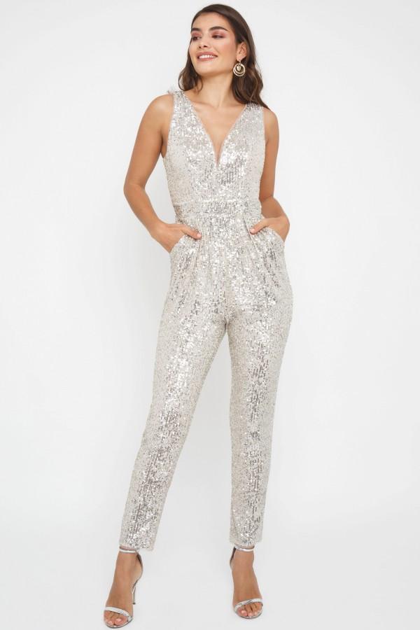 TFNC Wallan Nude/Silver Sequin Jumpsuit