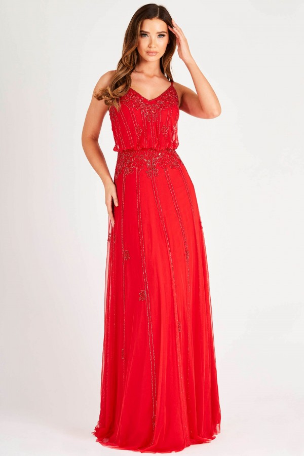 Lace & Beads Keeva Gown Red Maxi Dress