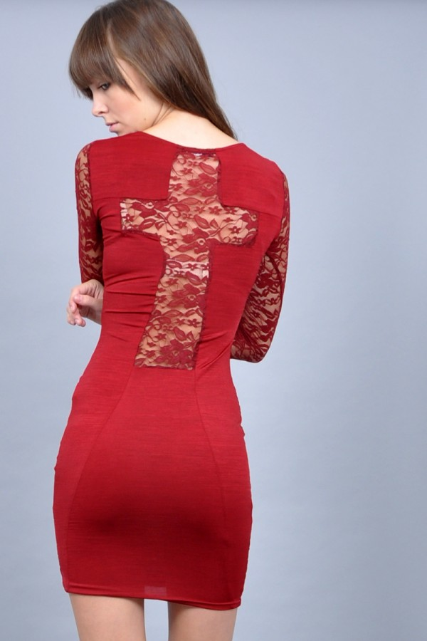 TFNC Kris Cross Back Dress