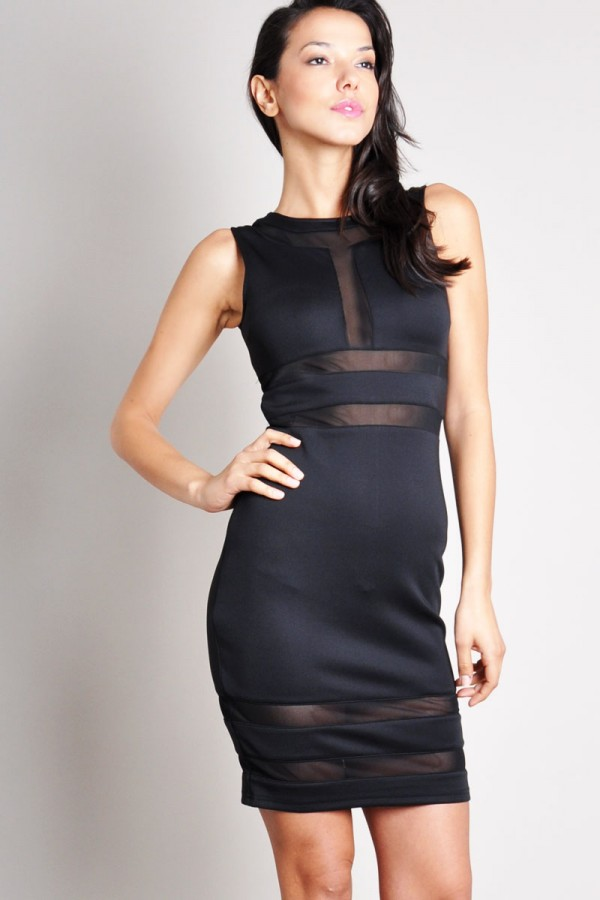 TFNC Dovena Black Body Con Dress