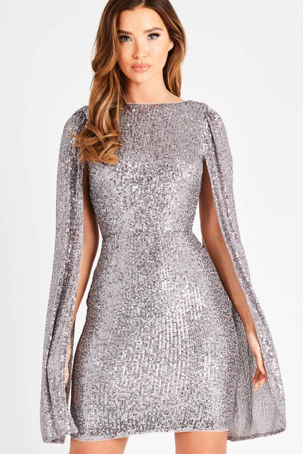 TFNC Valaya Grey/Silver Sequin Mini Dress