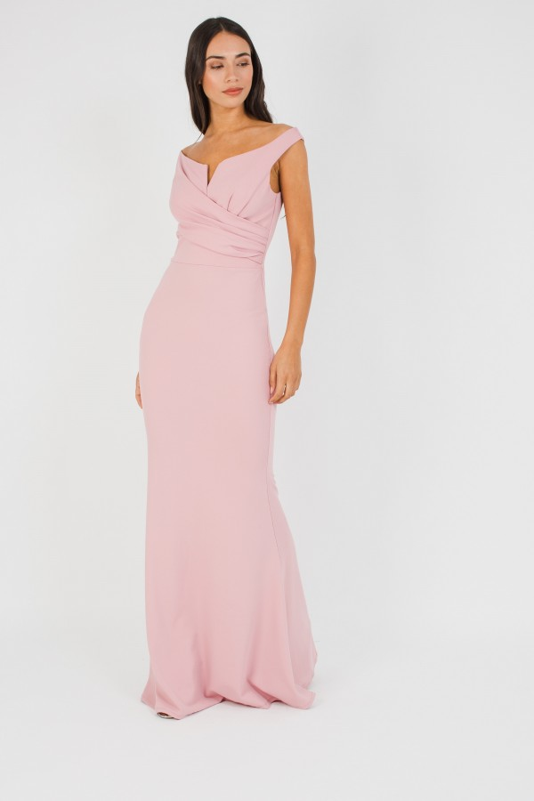 WalG Off Shoulder Pink Maxi Dress