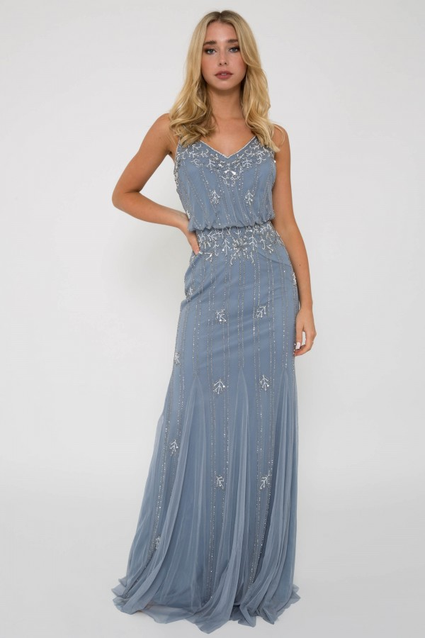 Lace & Beads Keeva Light Blue Maxi Dress