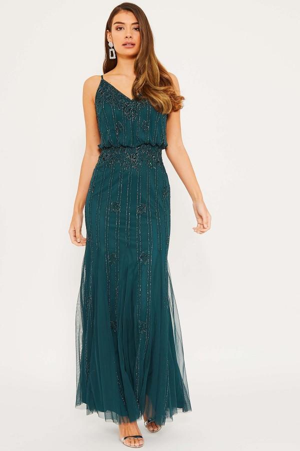 Lace & Beads Keeva Green Maxi Dress