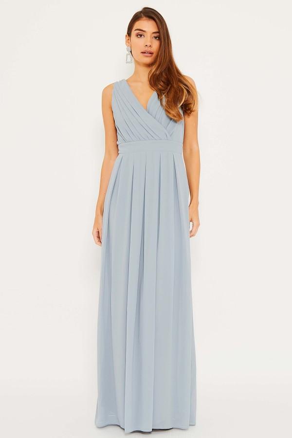 TFNC Kesha Grey Blue Maxi Dress
