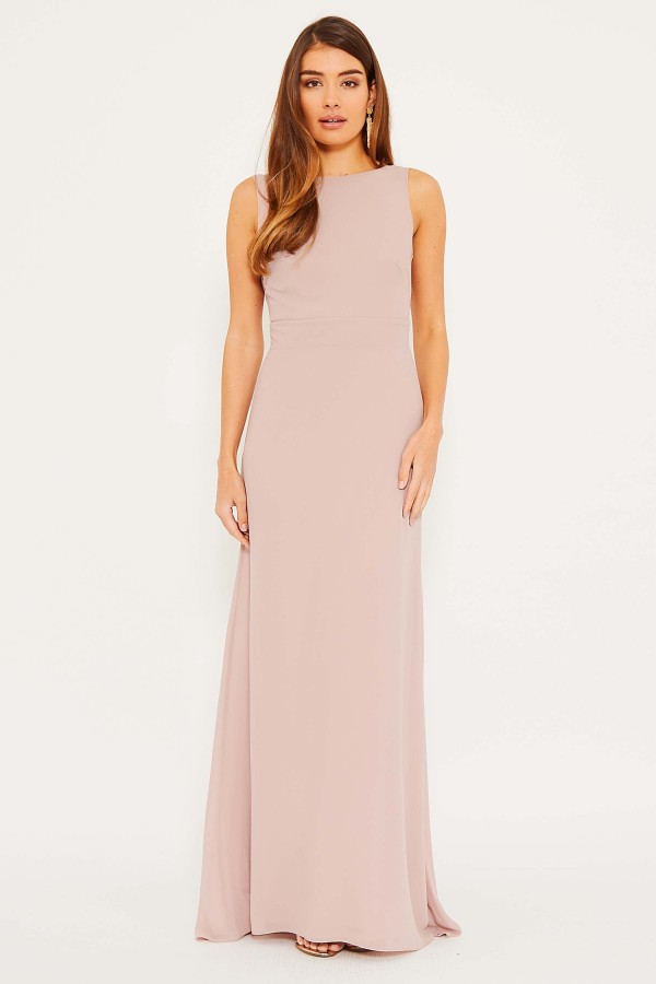 TFNC Halannah No Bow Pale Mauve Maxi Dress