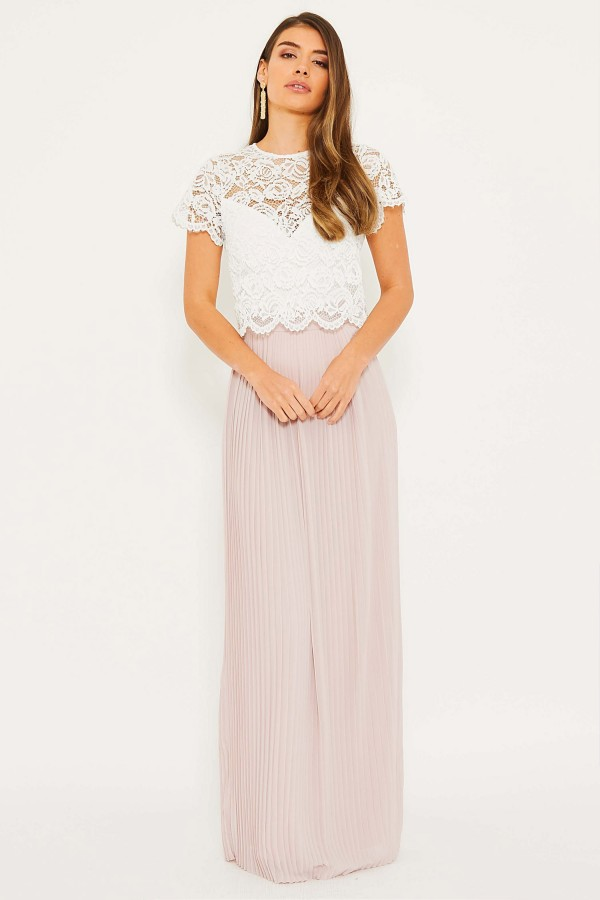 TFNC Tansi White/New Mink Maxi Dress