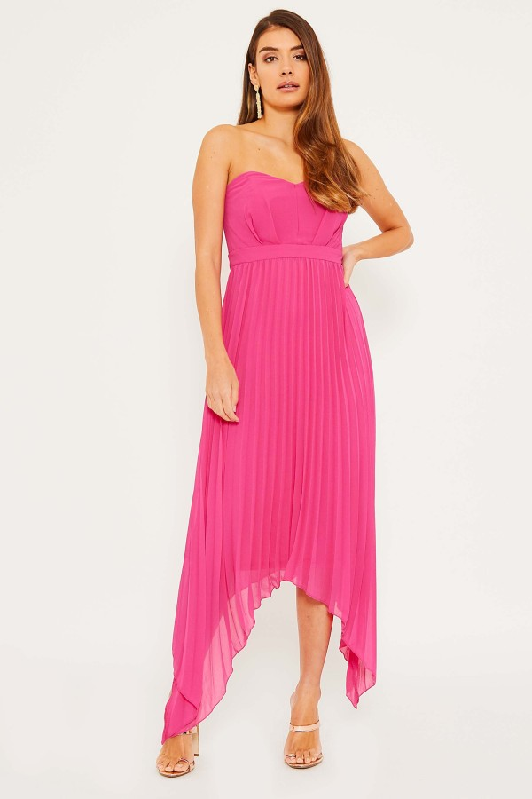 TFNC Taron Hi-Lo Fuschia Maxi Dress