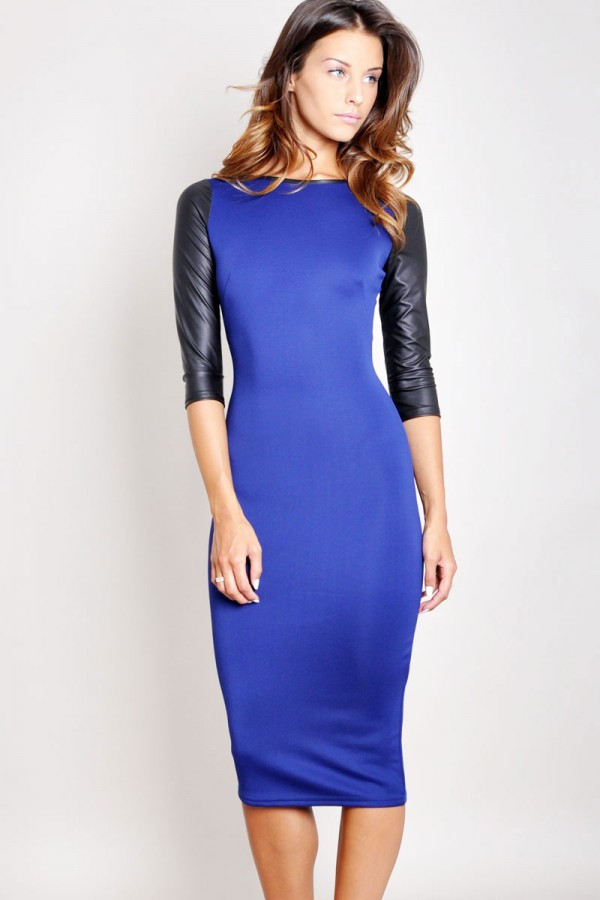 TFNC Theresea PU Sleeve Body Con Dress