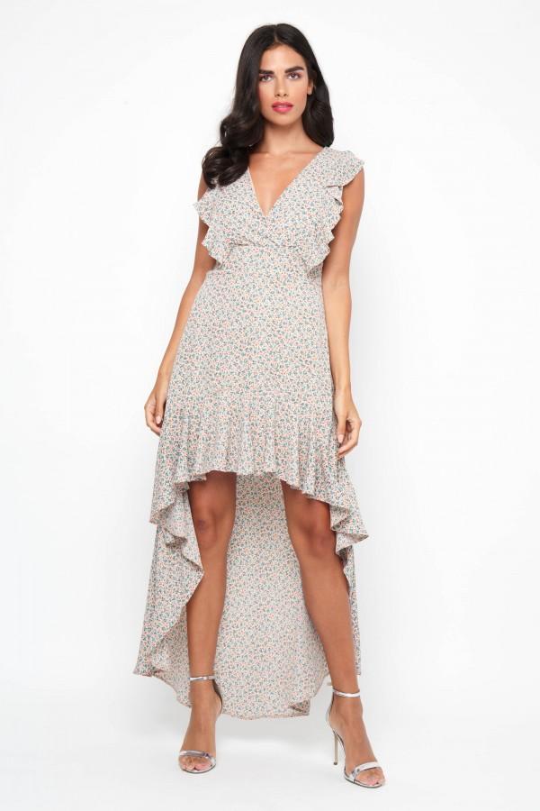 TFNC Suelen Floral Nude Dress