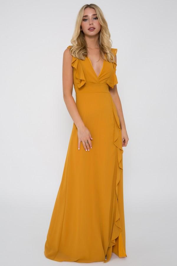 TFNC Isabeen Mustard Maxi Dress