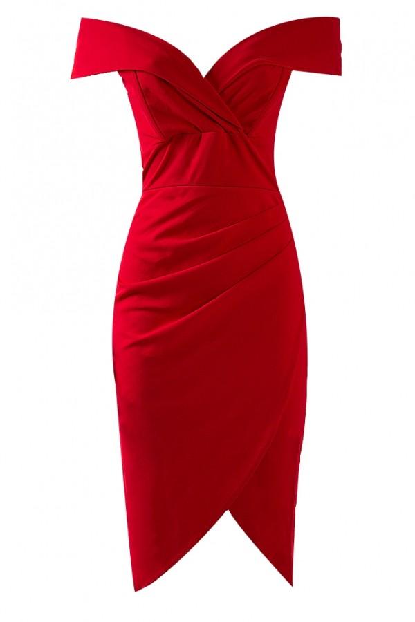 TFNC Kamia Scuba Red Midi Dress