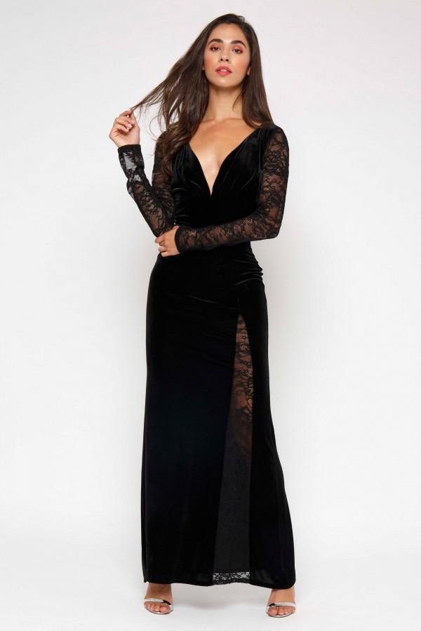 TFNC Hakima Black Maxi Dress