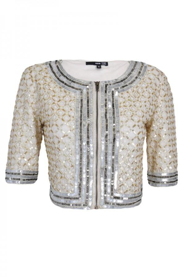TFNC Carmen Embellished Cropped Jacket