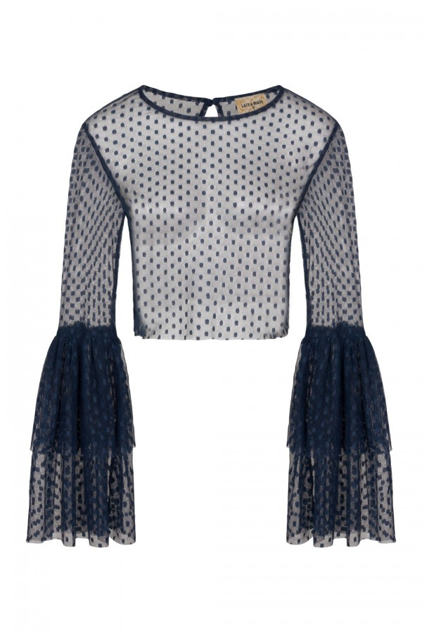 Lace & Beads Loon Navy Sheer Crop Top