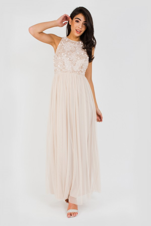 Lace & Beads Mahiki Nude Maxi Dress