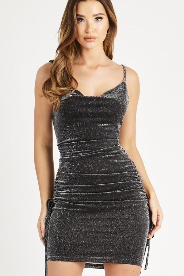 Skirt & Stiletto Alicia Black Metallic Ruched Dress