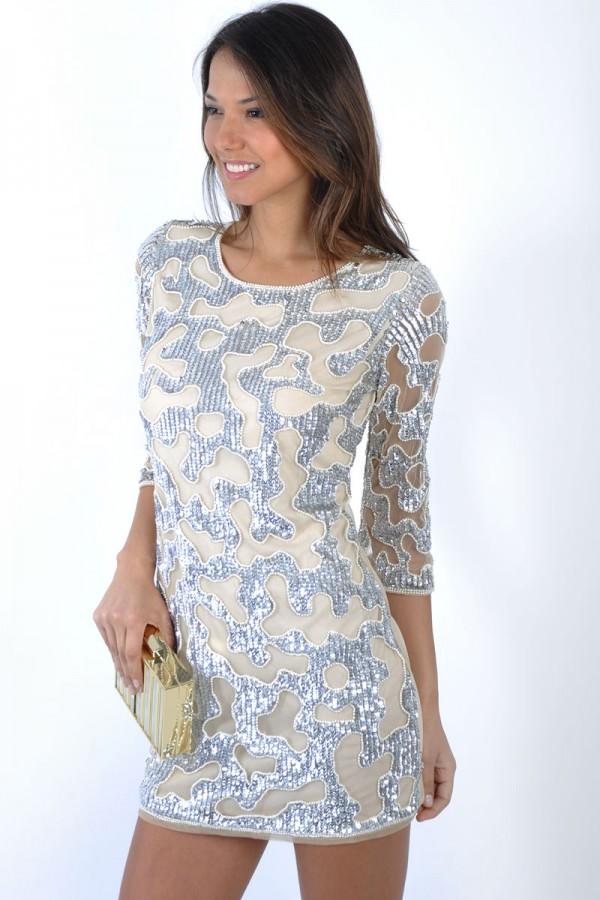 TFNC Scale Silver Sequin Embellished Dress