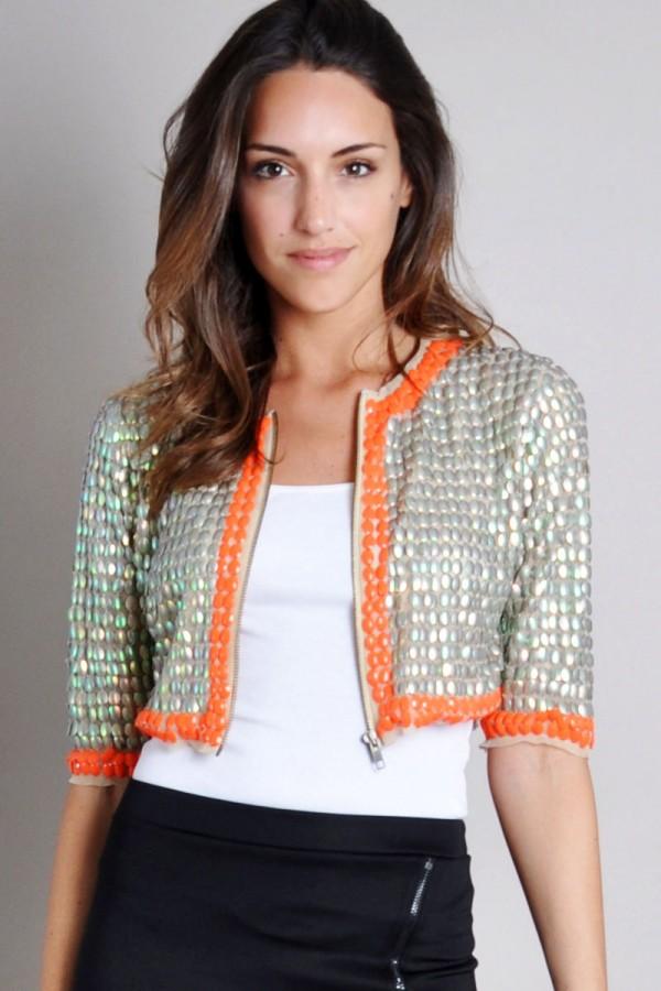 TFNC Mira Iridescent Cropped Jacket