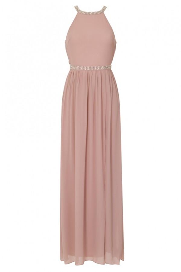 TFNC Laverne Pale Mauve Maxi Embellished Dress
