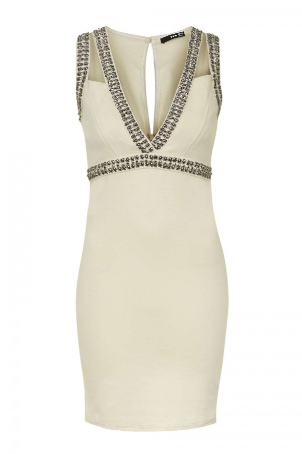 TFNC Deborah Nude Embellished Dress