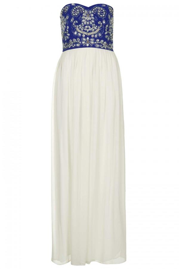 TFNC Amber Contrast Embellished Maxi Dress