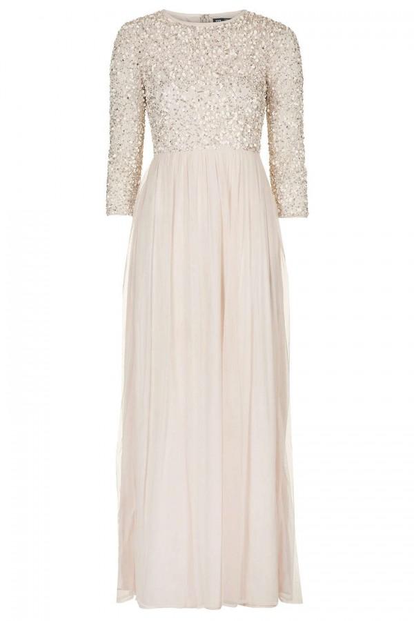 Lace & Beads Elle Nude Maxi Dress