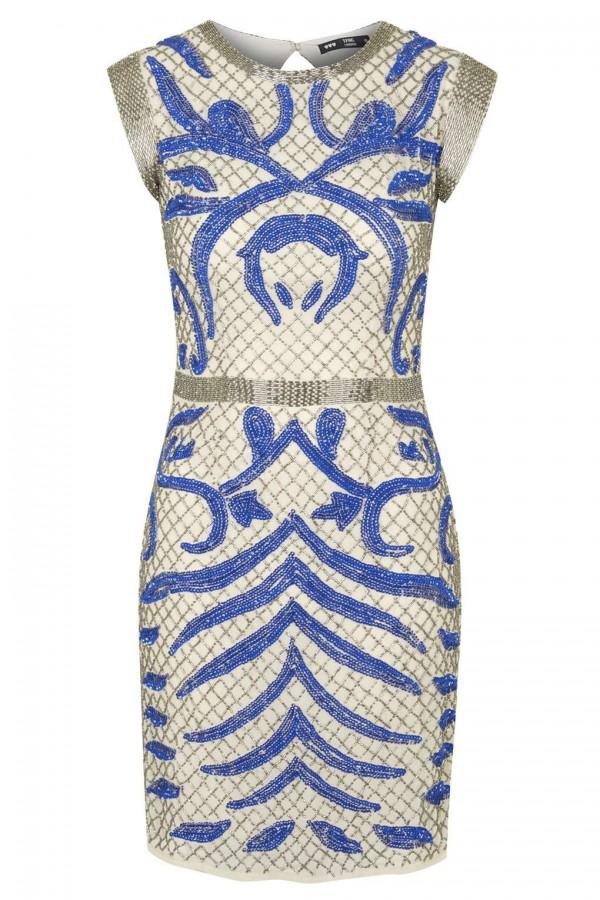Lace & Beads Malta Cream Embellished Dress