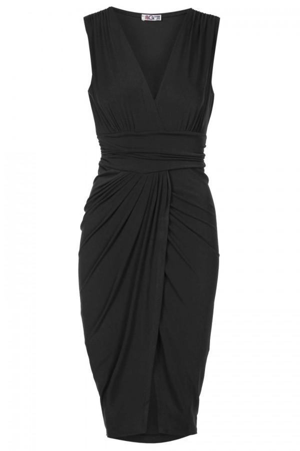 WalG Wrap Mini Black Dress