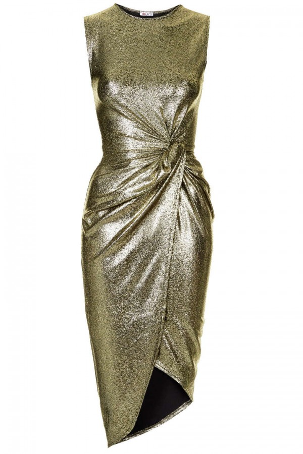 WalG Knot Tie Metallic Dress