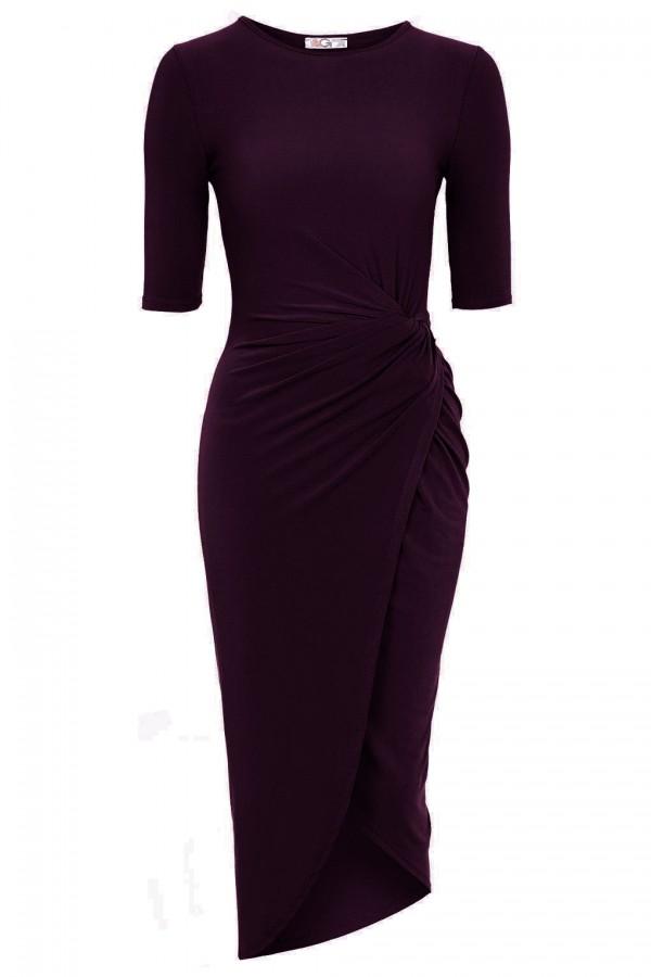 WalG Knot Tie Wine Dress