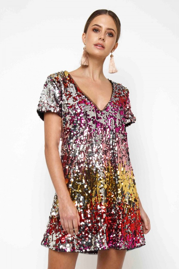 TFNC Tana Multi Sequin Tunic Dress